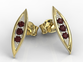 Garnets, 14ct yellow gold errings APK-97Z-R