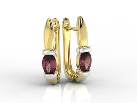 Garnets 14ct yellow & white gold earrings APK-67ZB
