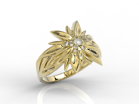Gold ring in the shape of edelweiss BP-46Z