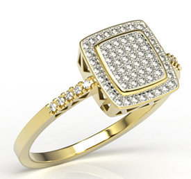 Gold ring with cubic zirconias LP-64Z-R-C