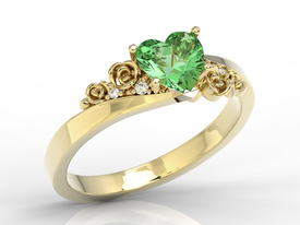 Green topaz Swarovski 14ct gold ring with zircons AP-53Z