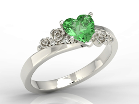 Green topaz Swarovski 14ct white gold ring with zircons AP-53B