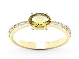 Lemon 14ct yellow gold ring with cubic zirconias BP-58Z-R-C