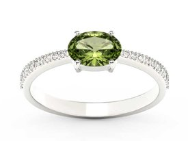Olivine 14ct white gold ring with cubic zirconias BP-58B-C