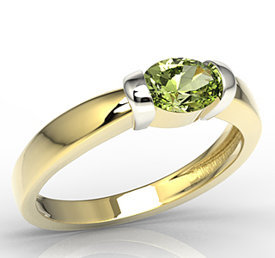 Olivine 14ct white & yellow gold ring AP-67ZB