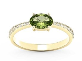 Olivine 14ct yellow gold ring with cubic zirconias BP-58Z-R-C