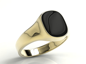 Onyx 14ct yellow gold signet SJ-22Z-ONY
