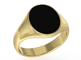 Onyx 14ct yellow gold signet SJ-28Z-ONY