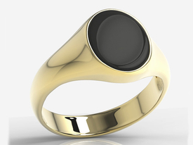 Onyx 14ct yellow gold signet oval SJ-19Z-ONY