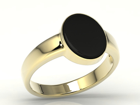 "Onyx 14ct yellow gold signet type ""scotch"" SJ-20Z-ONY"