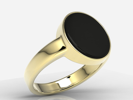 "Onyx 14ct yellow gold signet type ""scotch"" SJ-21Z-ONY"