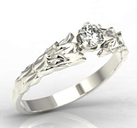 Original engagement ring 14ct white gold with cubic zirconia LP-91B-C