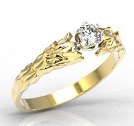 Original engagement ring 14ct yellow & white gold with cubic zirconia LP-91ZB-C