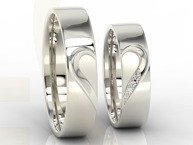 Pair of the wedding rings with heart, diamonds, white palladium gold OB-01B-D