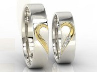 Pair of the wedding rings with heart, diamonds, white palladium & yellow gold OB-01BZ-R