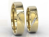 Pair of the wedding rings with heart, diamonds, yellow gold OB-01Z-D