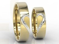 Pair of the wedding rings with heart, diamonds, yellow & white palladium gold OB-01ZB-D