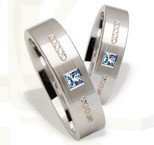 Pair of the white gold wedding rings ST-217B(C)