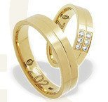 Pair of the yellow gold wedding rings ŁZ-02Z-EXTRA light