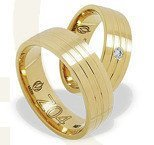 Pair of the yellow gold wedding rings ŁZ-04Z-EXTRA light