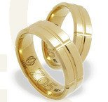 Pair of the yellow gold wedding rings ŁZ-05Z-EXTRA light