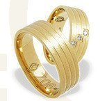 Pair of the yellow gold wedding rings ŁZ-06Z-EXTRA light