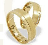 Pair of the yellow gold wedding rings ŁZ-11Z-EXTRA light