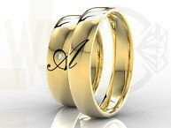 Pair of the yellow gold wedding rings with diamond 0,02ct and initials made in enamel OB-02Z