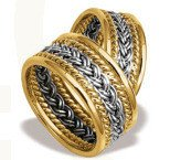 Pair of the yellow & white gold wedding rings ST-7ZB
