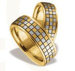 Pair of the yellow & white gold wedding rings ST-80ZB