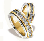 Pair of the yellow & white gold wedding rings ST-83ZB(C)