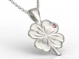 Ruby, 14ct white gold pendant in the shape of a clover BP-19B