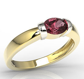 Ruby 14ct white & yellow gold ring AP-67ZB