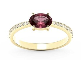 Ruby 14ct yellow gold ring with cubic zirconias BP-58Z-R-C