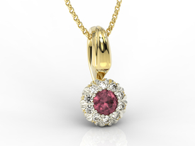 Ruby, 14ct yellow & white gold pendant with cubic zirconias APW-42ZB-C