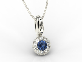 Sapphire, 14ct white gold pendant with cubic zirconias APW-42B