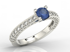 Sapphire 14ct white gold ring with cubic zirconia LP-16B