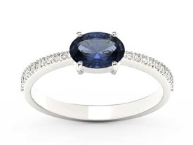 Sapphire 14ct white gold ring with cubic zirconias BP-58B-C