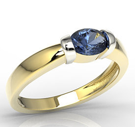 Sapphire 14ct white & yellow gold ring AP-67ZB