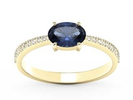 Sapphire 14ct yellow gold ring with cubic zirconias BP-58Z-R-C