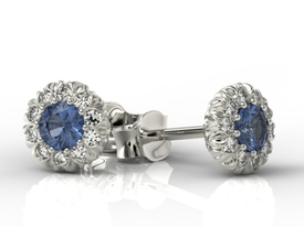 Sapphires 14ct white gold earrings with cubic zirconias APK-42B-C