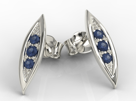 Sapphires 14ct white gold errings APK-97B