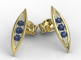Sapphires 14ct yellow gold errings APK-97Z-R