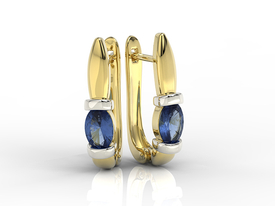 Sapphires 14ct yellow & white gold earrings APK-67ZB
