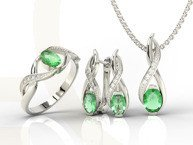 Set - Ring, earring and pendant 14ct white gold ring emeralds and diamonds AP-69B-SET