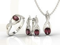Set - Ring, earring and pendant 14ct white gold ring rubis and diamonds AP-69B-SET