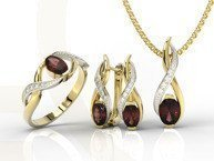 Set - Ring, earring and pendant 14ct yellow & white gold ring garnet and diamonds AP-69ZB-SET