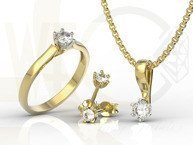 Set - Ring, earring and pendant 14ct  yellow & white gold ring with cubic zirconias LP-8027B-C-ZEST