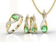 Set - Ring, earring and pendant 14ct yellow & white gold ring with emerald and diamonds AP-69ZB-SET