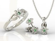 Set - Ring, earrings and pendant 14ct white gold with emerald BP-14/BP-15B SET